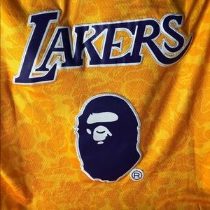 21cf6d0b4 Bape Ape Other - New A Bathing Ape X Mitchell   Ness Baker Lakers J